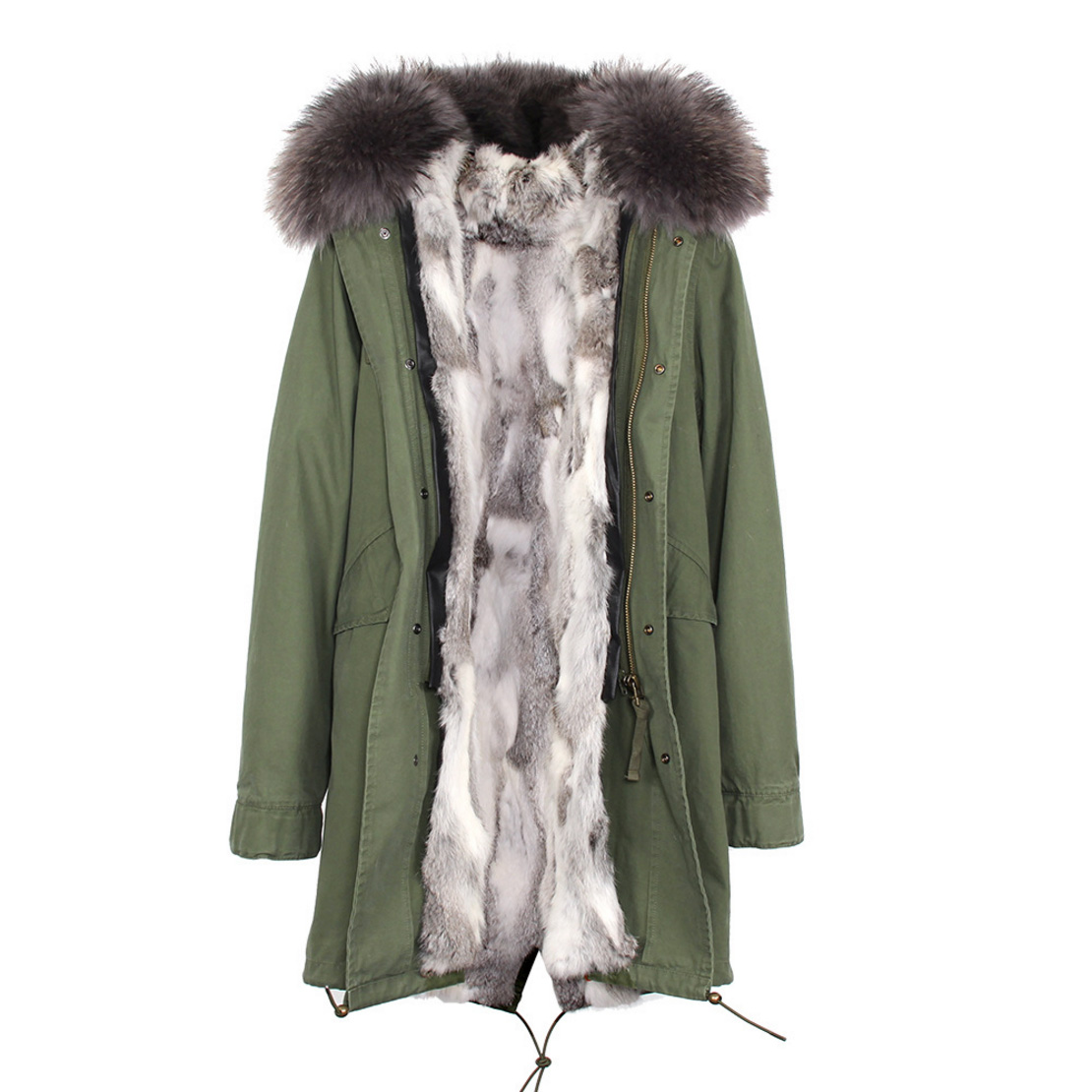 Raccoon Fur Trimmed Hooded Parka with Detachable Rex Rabbit Fur Liner 118 Details c3