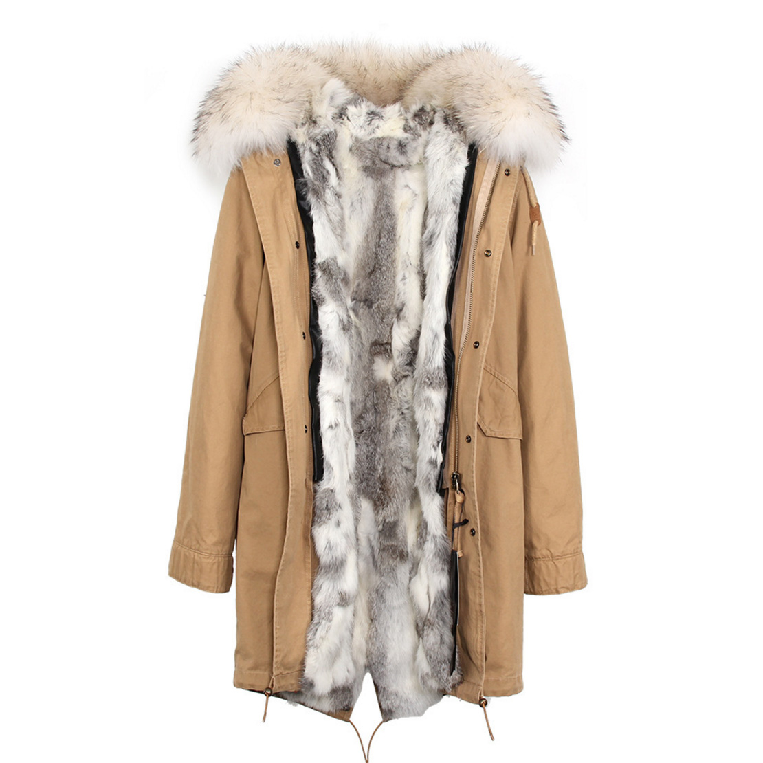 Raccoon Fur Trimmed Hooded Parka with Detachable Rex Rabbit Fur Liner 118 Details c4