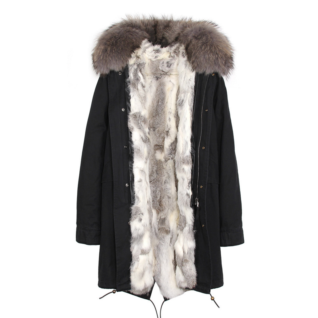 Raccoon Fur Trimmed Hooded Parka with Detachable Rex Rabbit Fur Liner 118 Details c5