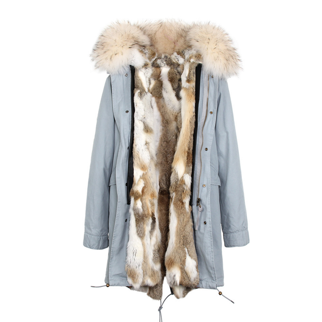 Raccoon Fur Trimmed Hooded Parka with Detachable Rex Rabbit Fur Liner 118 Details d1