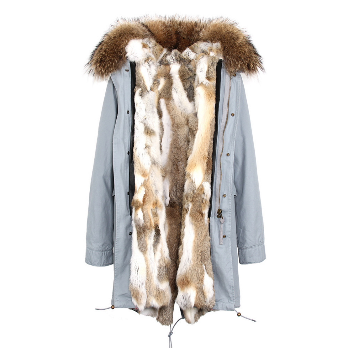 Raccoon Fur Trimmed Hooded Parka with Detachable Rex Rabbit Fur Liner 118 Details d2