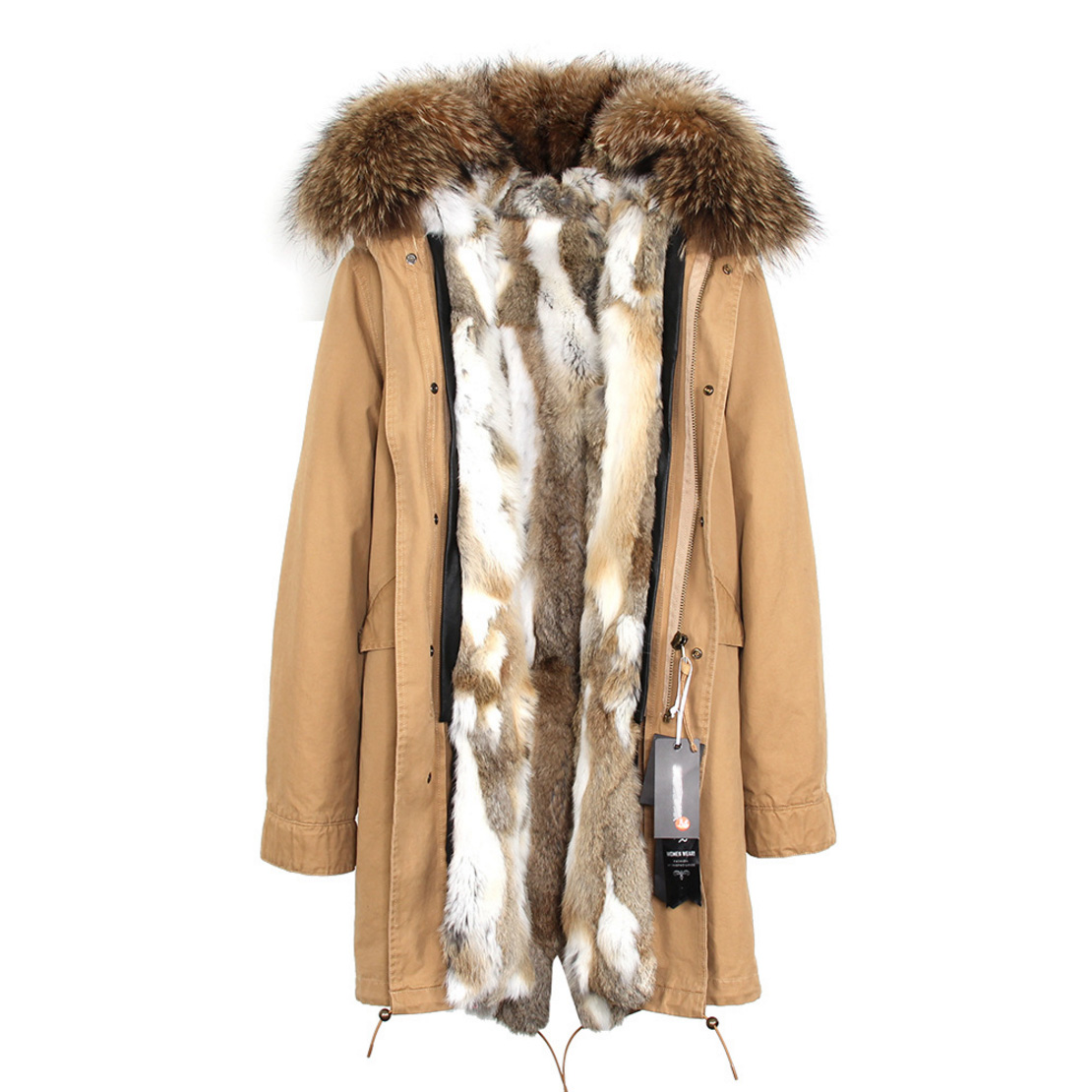 Raccoon Fur Trimmed Hooded Parka with Detachable Rex Rabbit Fur Liner 118 Details d3