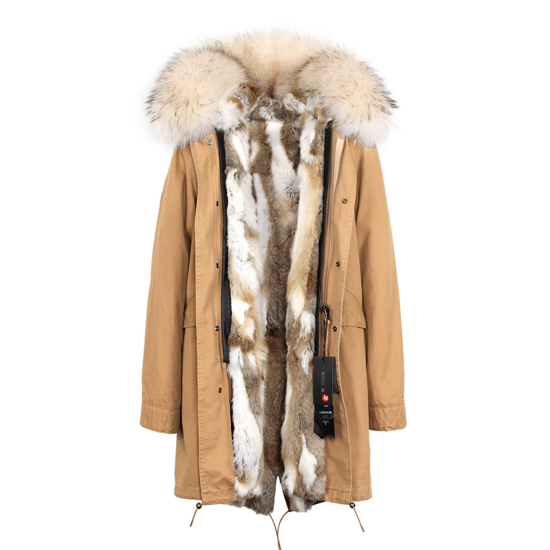 Raccoon Fur Trimmed Hooded Parka with Detachable Rex Rabbit Fur Liner 118 Details d4