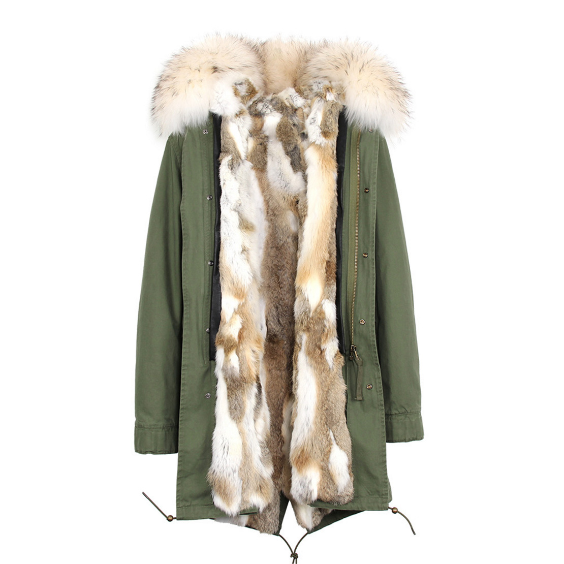 Raccoon Fur Trimmed Hooded Parka with Detachable Rex Rabbit Fur Liner 118 Details d5