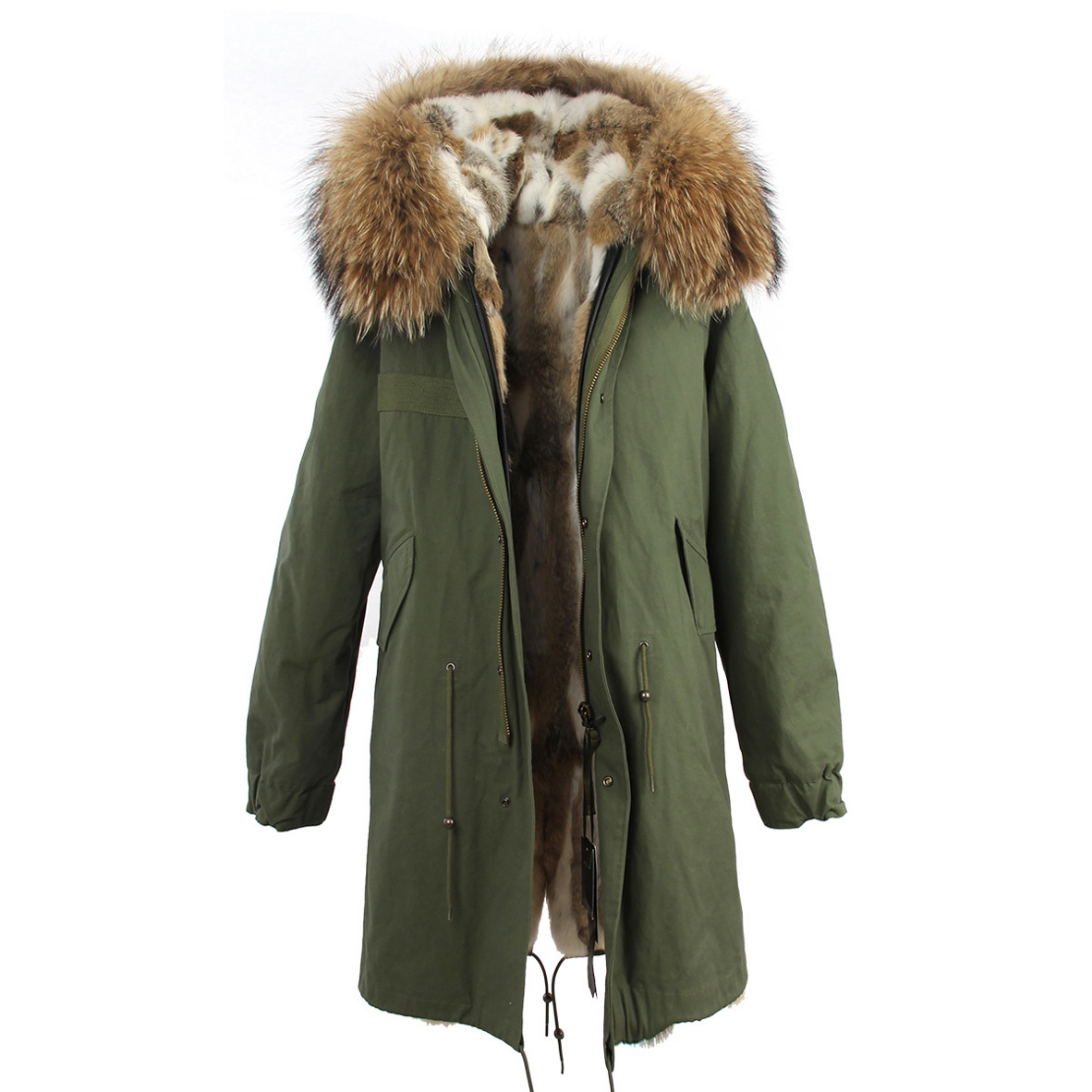 Raccoon Fur Trimmed Hooded Parka with Detachable Rex Rabbit Fur Liner 118 Details d6