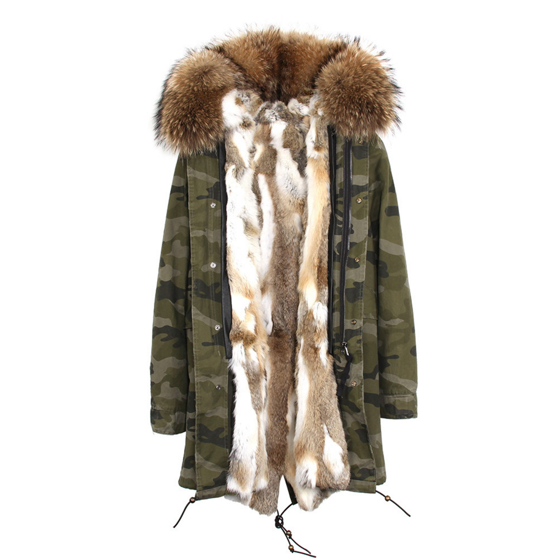 Raccoon Fur Trimmed Hooded Parka with Detachable Rex Rabbit Fur Liner 118 Details d7