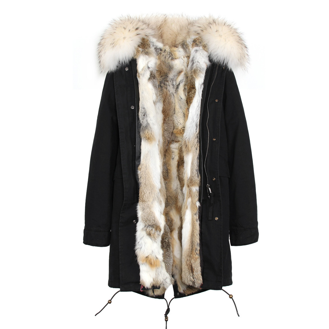 Raccoon Fur Trimmed Hooded Parka with Detachable Rex Rabbit Fur Liner 118 Details d8