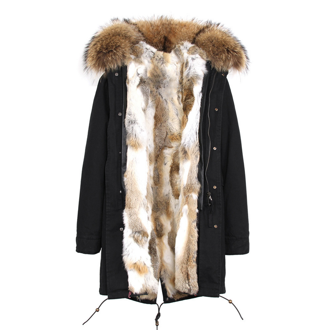 Raccoon Fur Trimmed Hooded Parka with Detachable Rex Rabbit Fur Liner 118 Details d9