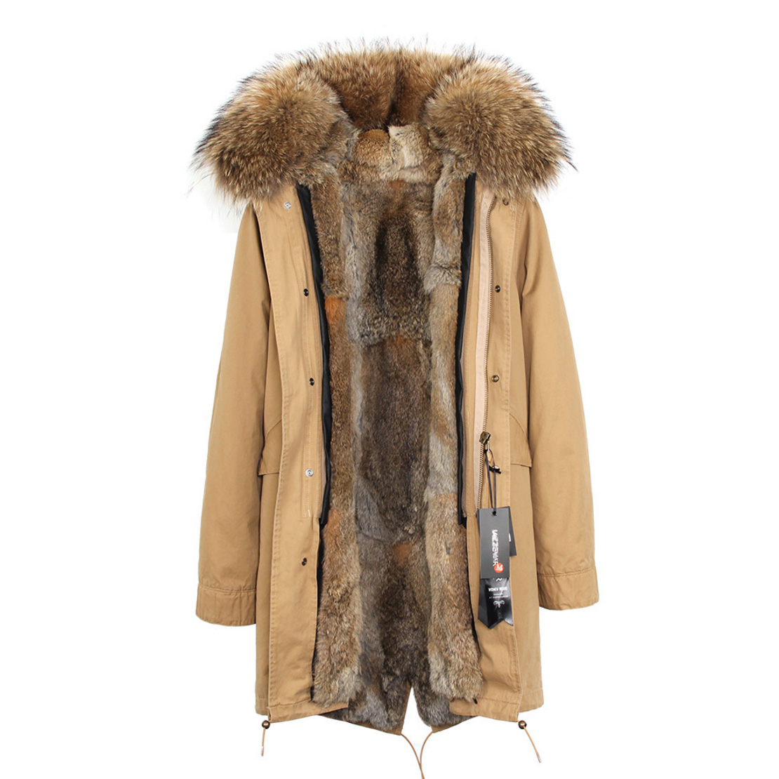 Raccoon Fur Trimmed Hooded Parka with Detachable Rex Rabbit Fur Liner 118 Details e1