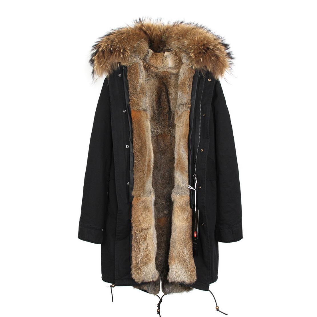 Raccoon Fur Trimmed Hooded Parka with Detachable Rex Rabbit Fur Liner 118 Details e2