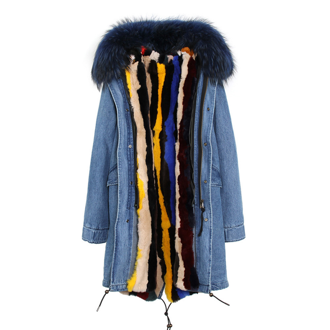 Raccoon Fur Trimmed Hooded Parka with Detachable Rex Rabbit Fur Liner 118 Details f1