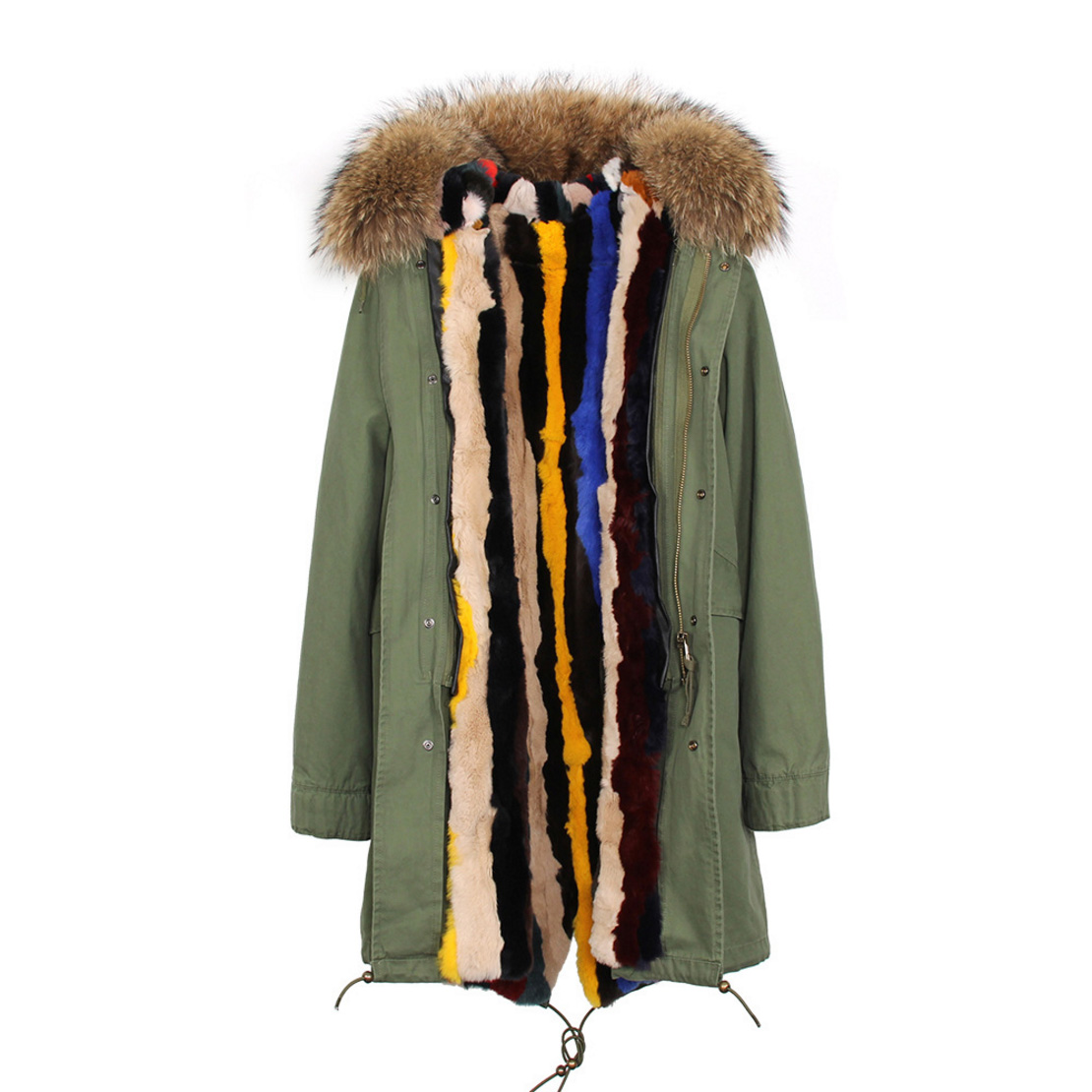 Raccoon Fur Trimmed Hooded Parka with Detachable Rex Rabbit Fur Liner 118 Details f2