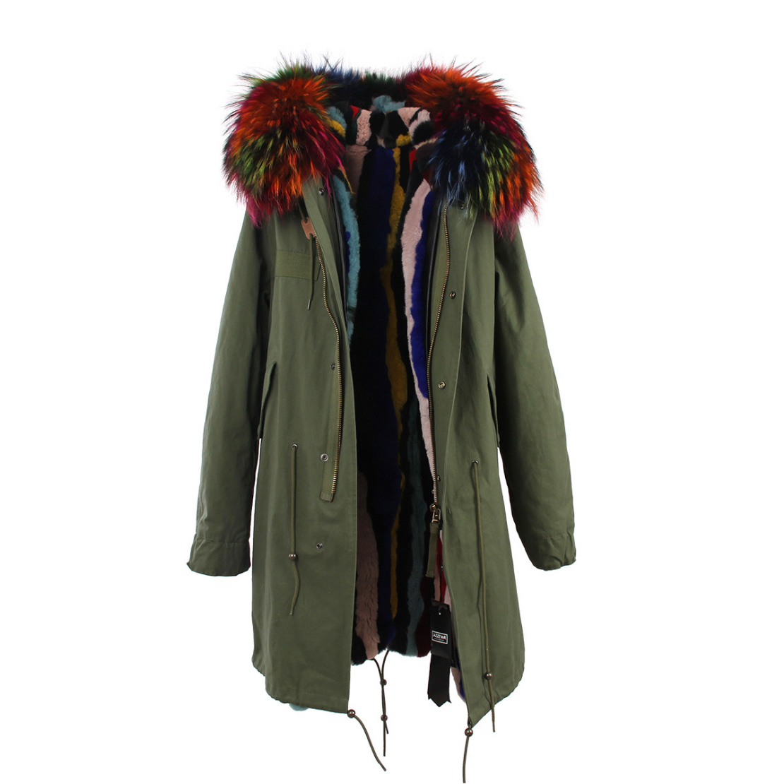 Raccoon Fur Trimmed Hooded Parka with Detachable Rex Rabbit Fur Liner 118 Details f3