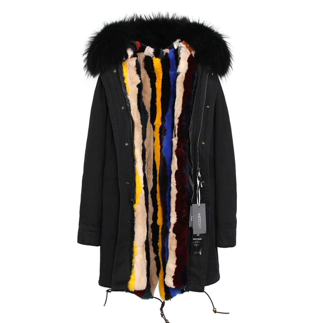 Raccoon Fur Trimmed Hooded Parka with Detachable Rex Rabbit Fur Liner 118 Details f4