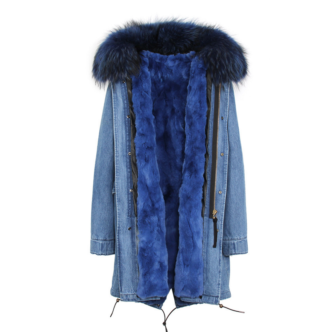 Raccoon Fur Trimmed Hooded Parka with Detachable Rex Rabbit Fur Liner 118 Details g1