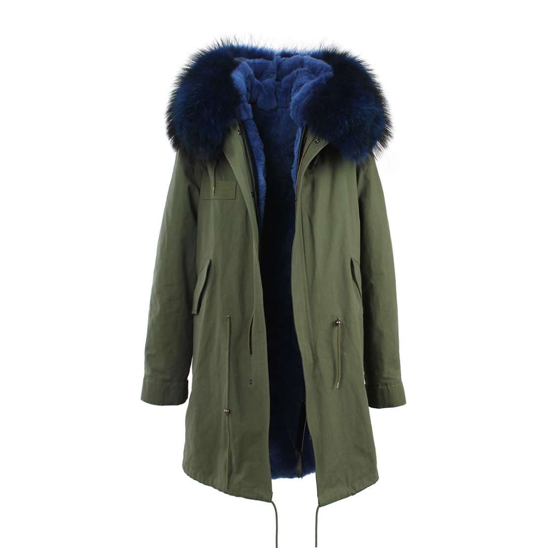 Raccoon Fur Trimmed Hooded Parka with Detachable Rex Rabbit Fur Liner 118 Details g2