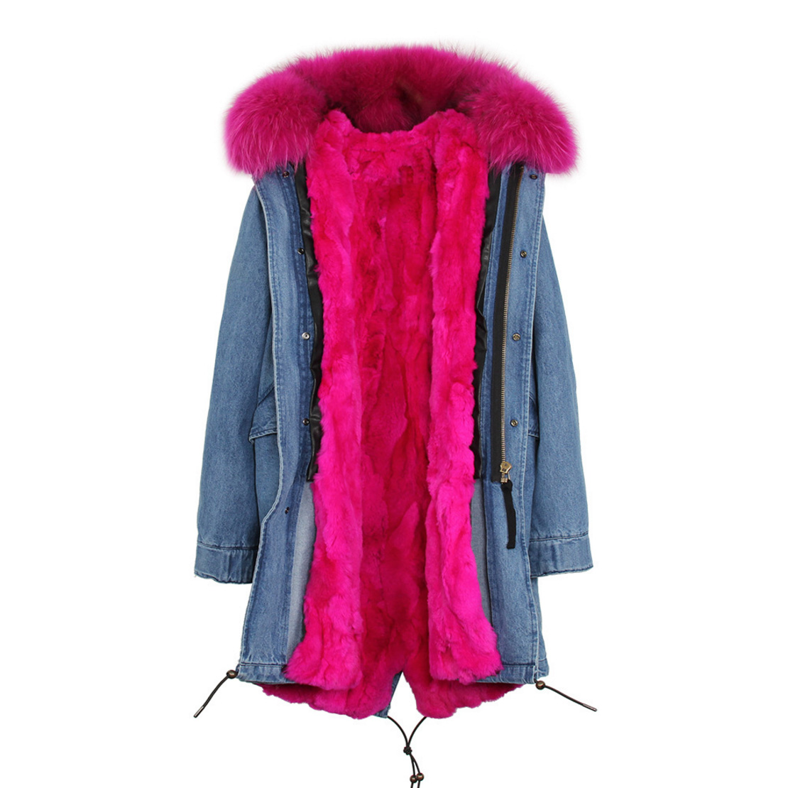 Raccoon Fur Trimmed Hooded Parka with Detachable Rex Rabbit Fur Liner 118 Details h1