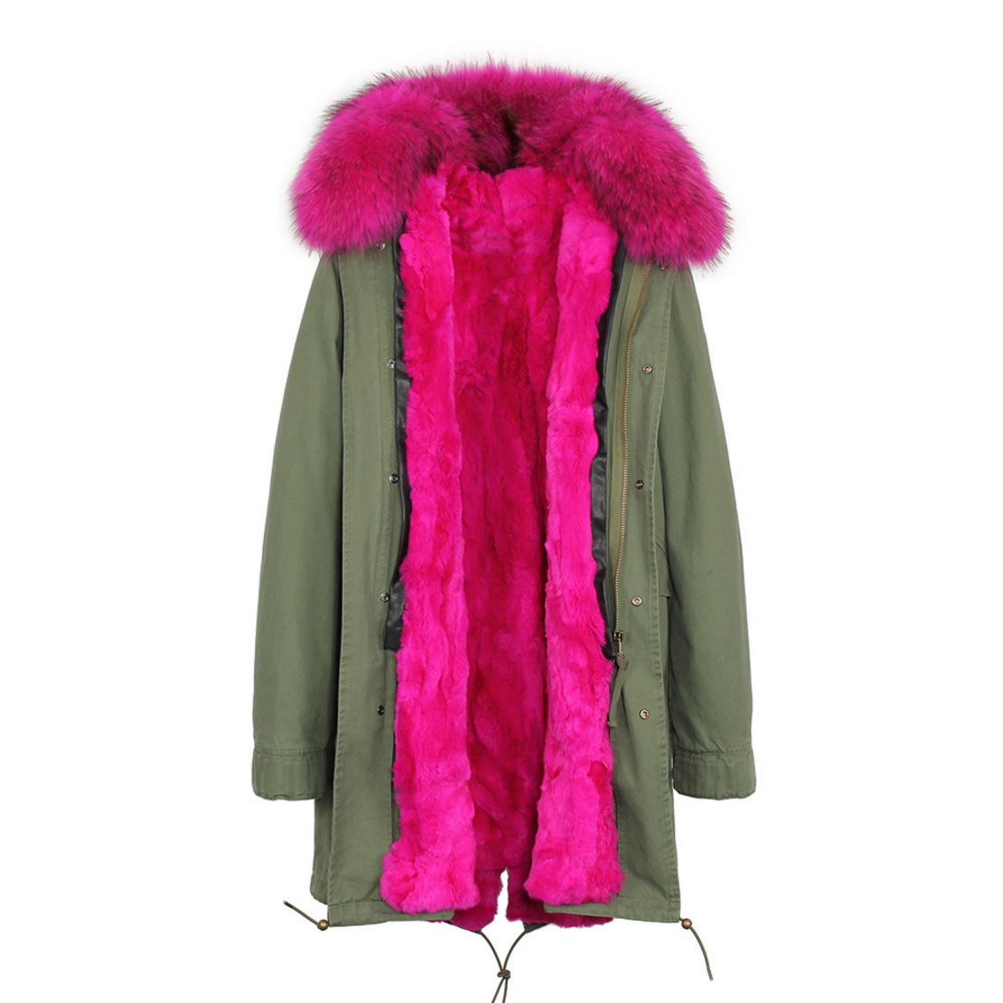 Raccoon Fur Trimmed Hooded Parka with Detachable Rex Rabbit Fur Liner 118 Details h2
