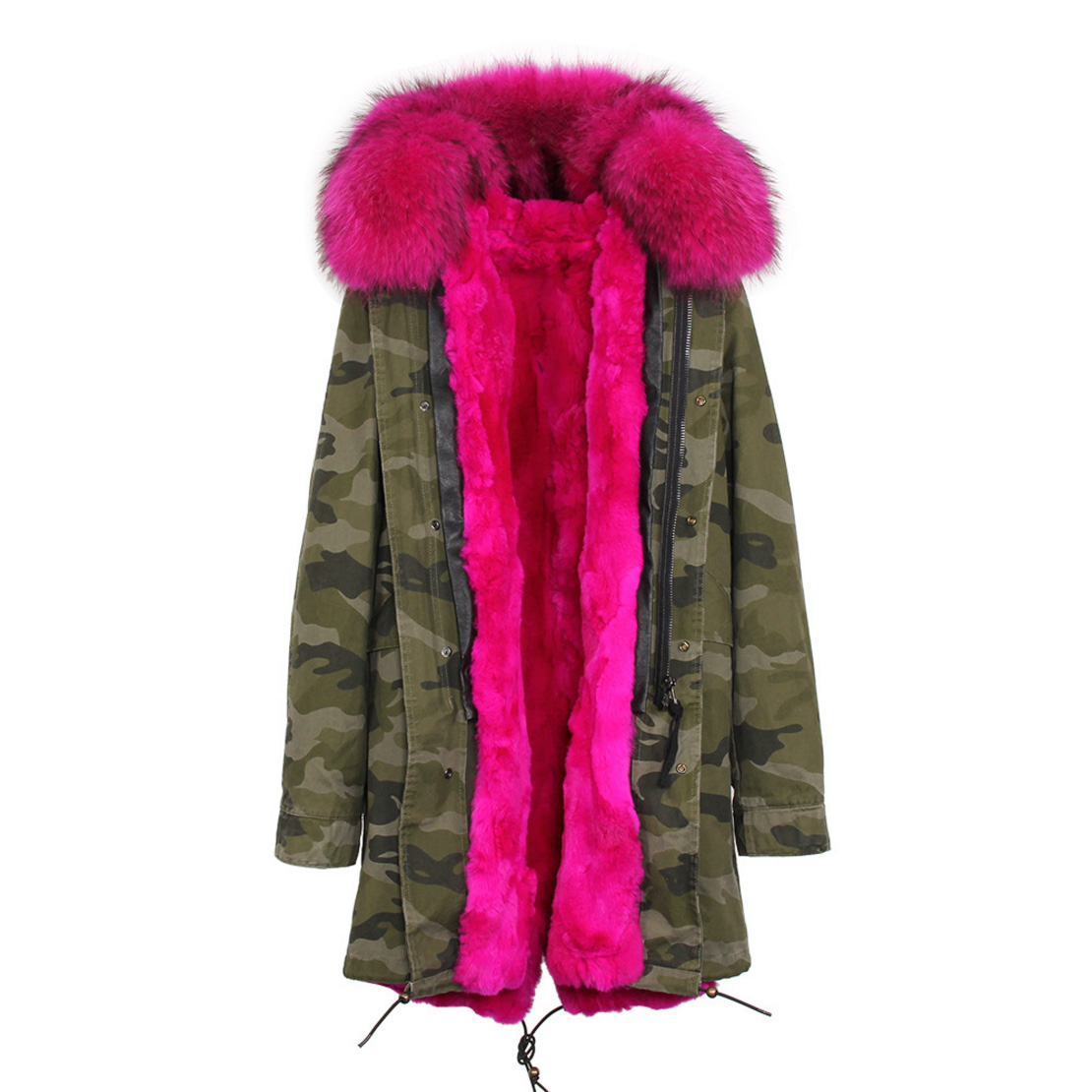 Raccoon Fur Trimmed Hooded Parka with Detachable Rex Rabbit Fur Liner 118 Details h4