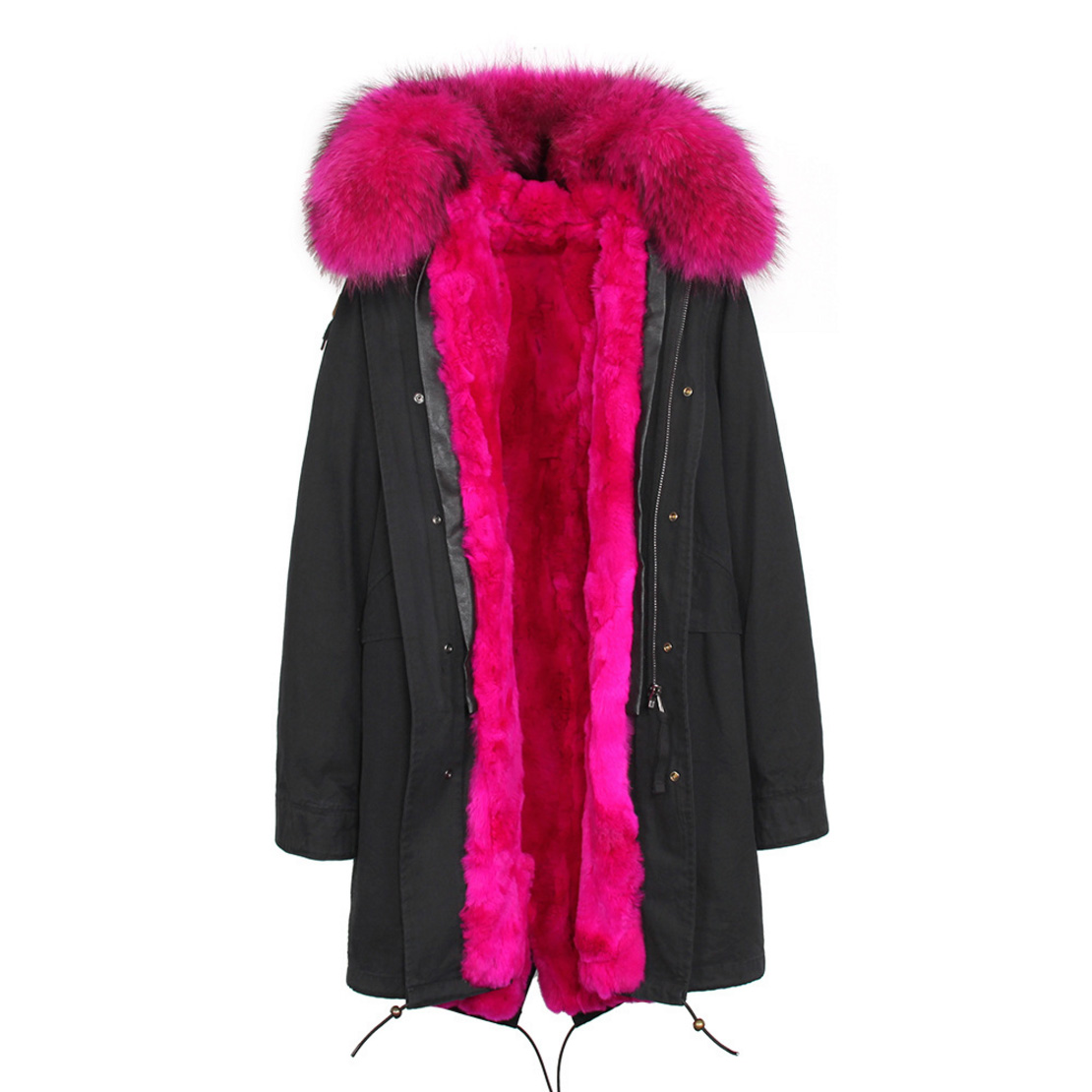 Raccoon Fur Trimmed Hooded Parka with Detachable Rex Rabbit Fur Liner 118 Details h5