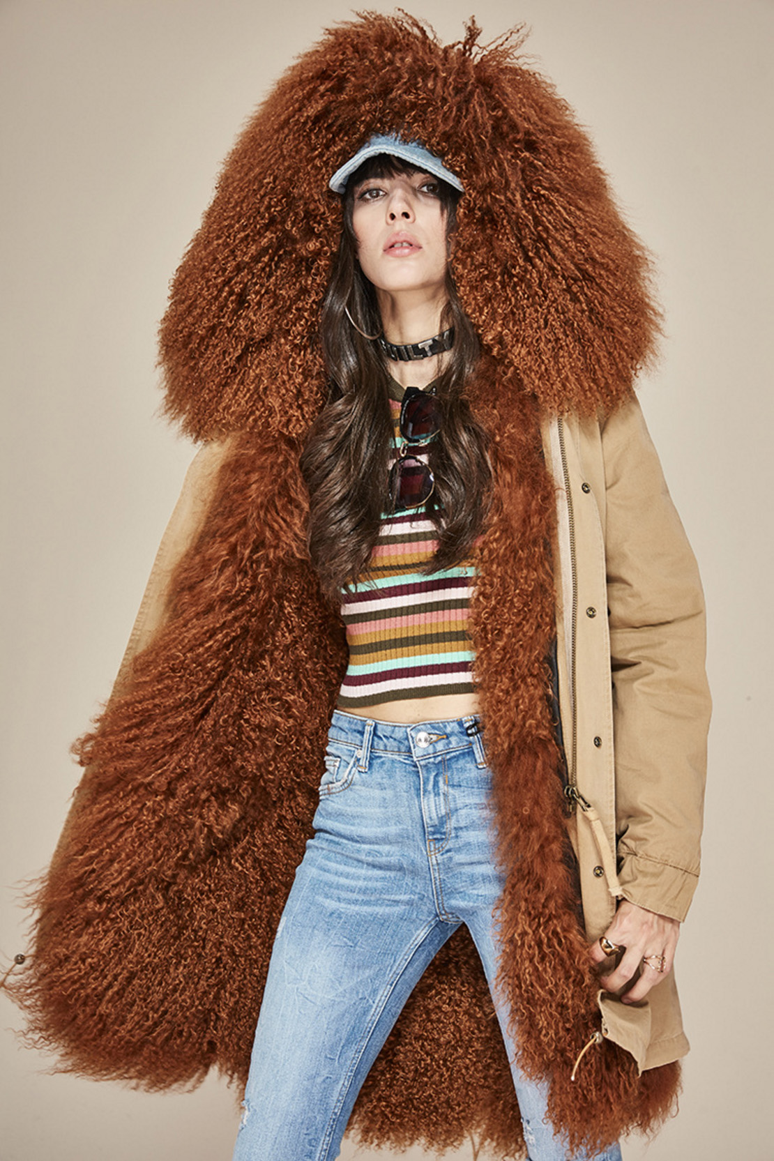 Tibet Sheep Fur Hooded Parka 119 Details 1