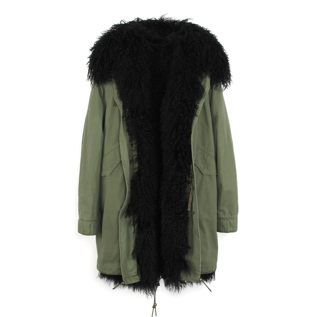 Tibet Sheep Fur Hooded Parka 119 Details 15