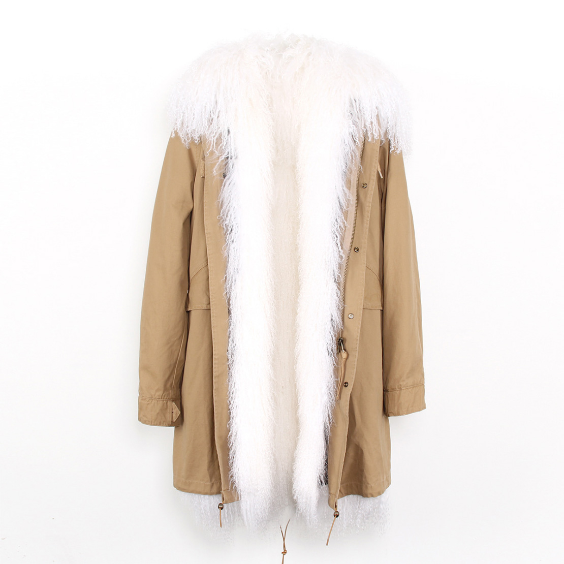 Tibet Sheep Fur Hooded Parka 119 Details 17