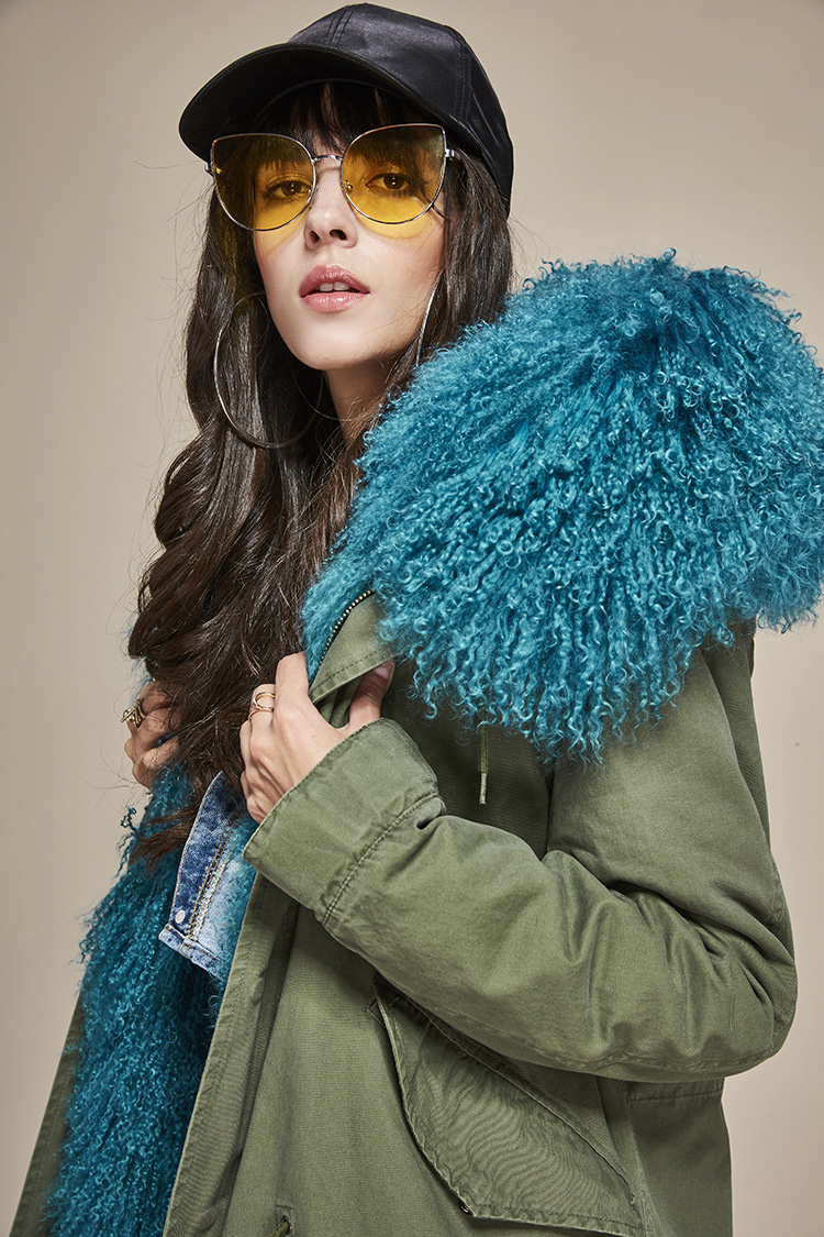 Tibet Sheep Fur Hooded Parka 119b Details 1