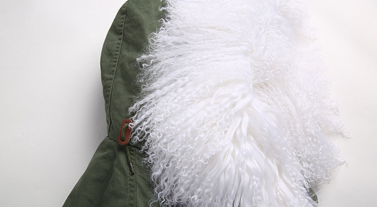 Tibet Sheep Fur Hooded Parka 119b Details 4