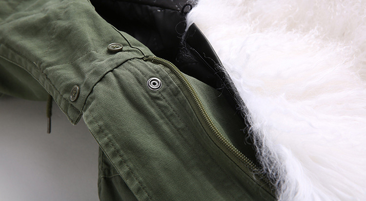 Tibet Sheep Fur Hooded Parka 119b Details 5
