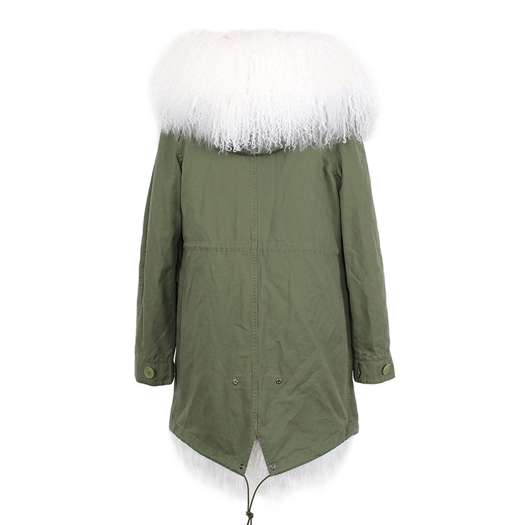 Tibet Sheep Fur Hooded Parka 119b Details 8
