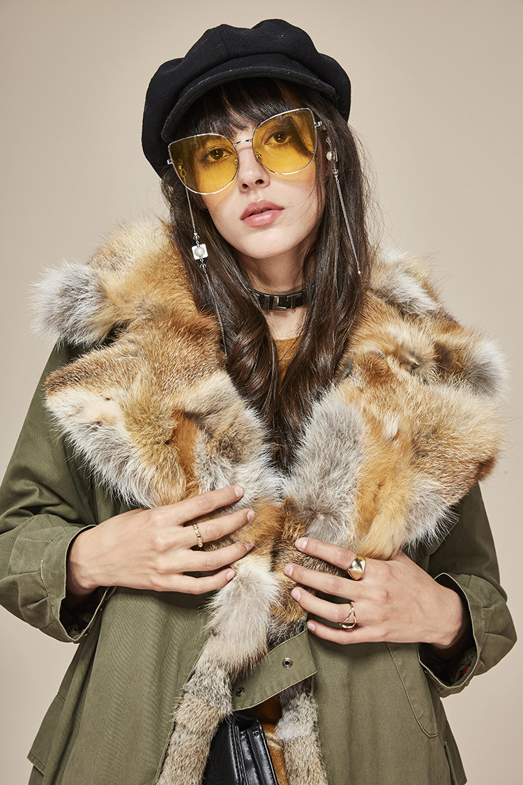 Fox Fur Collar Trench Coat with Rabbit Fur Trim 120 Details 1