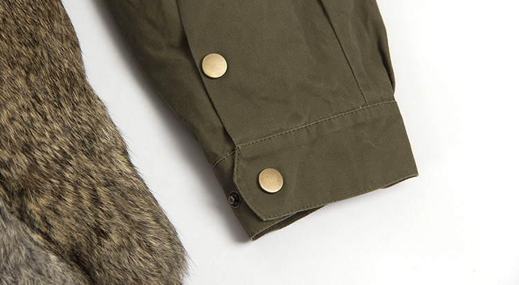 Fox Fur Collar Trench Coat with Rabbit Fur Trim 120 Details 14