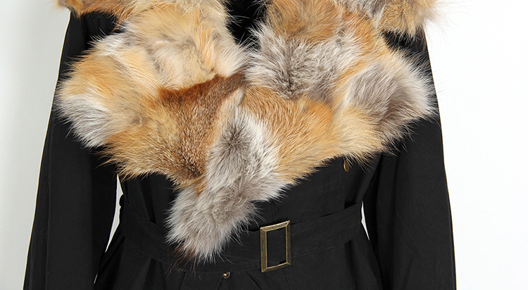 Fox Fur Collar Trench Coat with Rabbit Fur Trim 120 Details 17