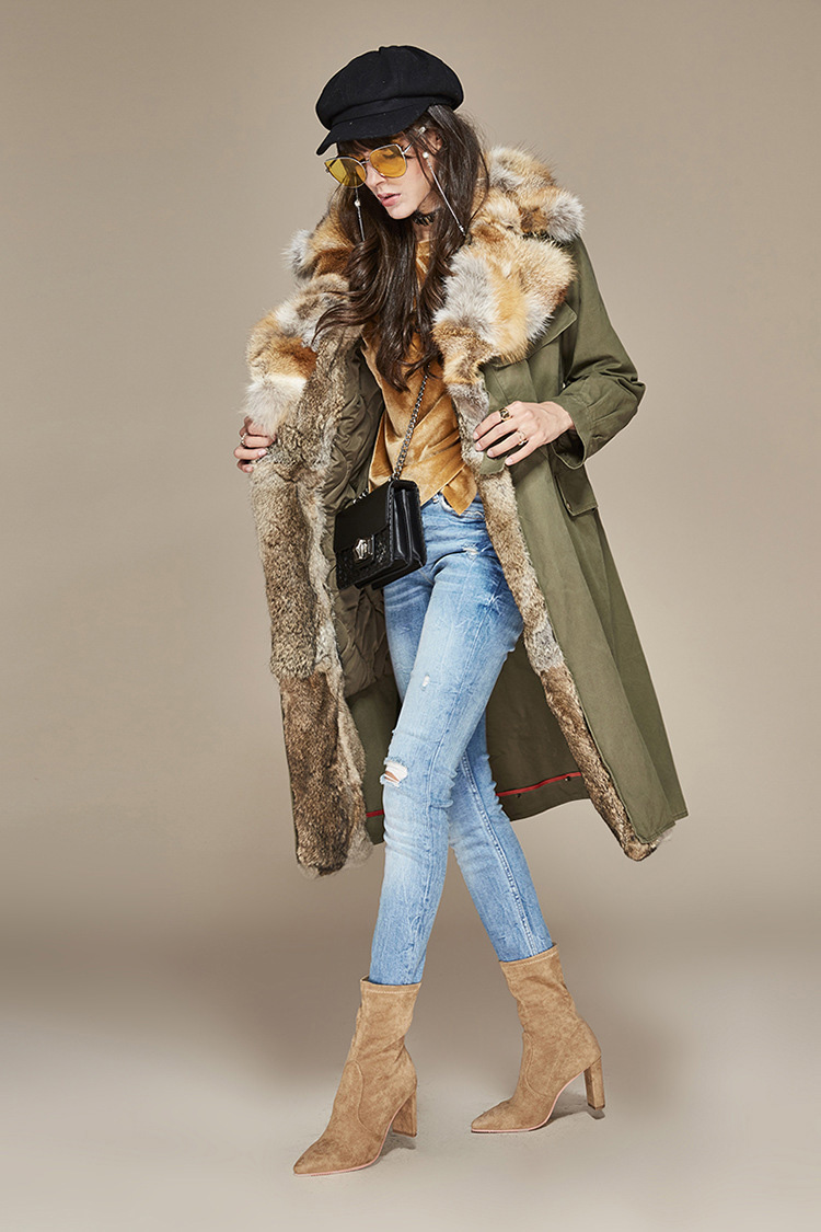 Fox Fur Collar Trench Coat with Rabbit Fur Trim 120 Details 2