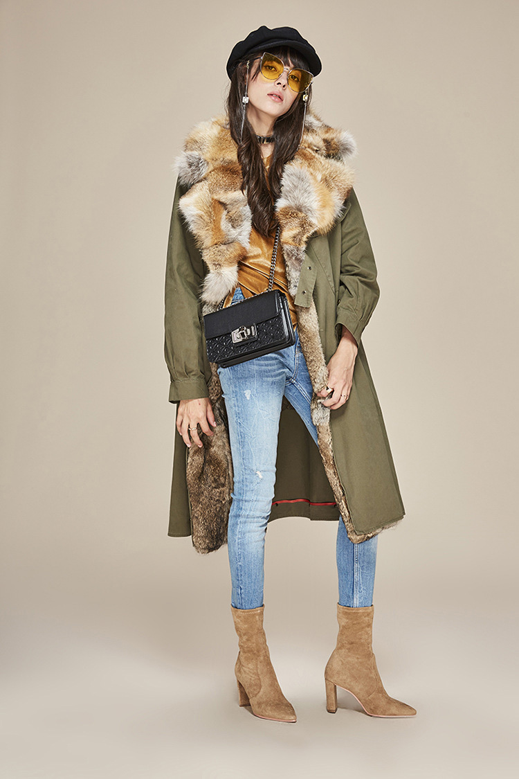 Fox Fur Collar Trench Coat with Rabbit Fur Trim 120 Details 3