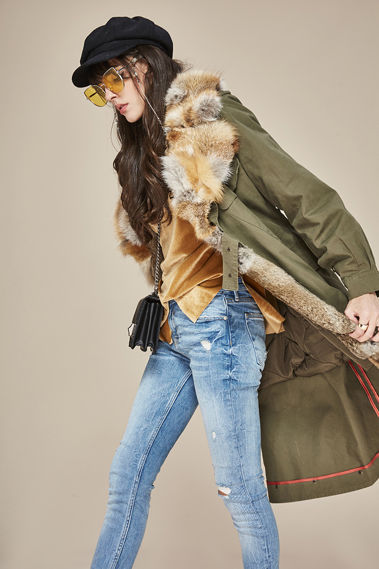 Fox Fur Collar Trench Coat with Rabbit Fur Trim 120 Details 4