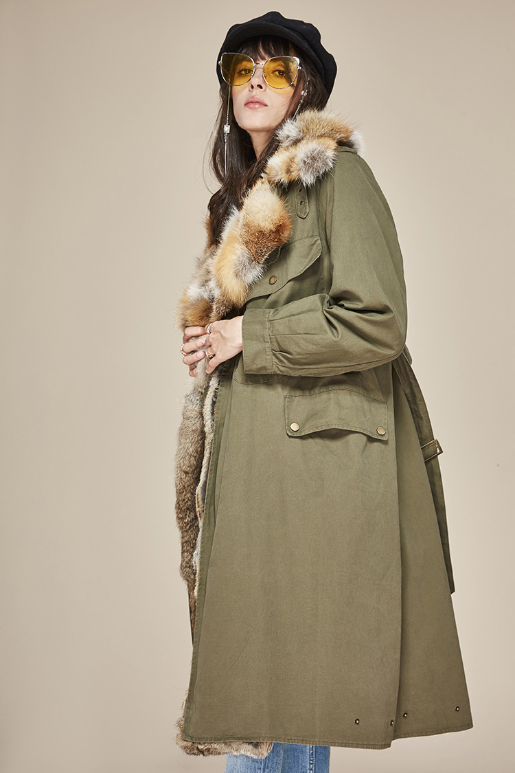 Fox Fur Collar Trench Coat with Rabbit Fur Trim 120 Details 5