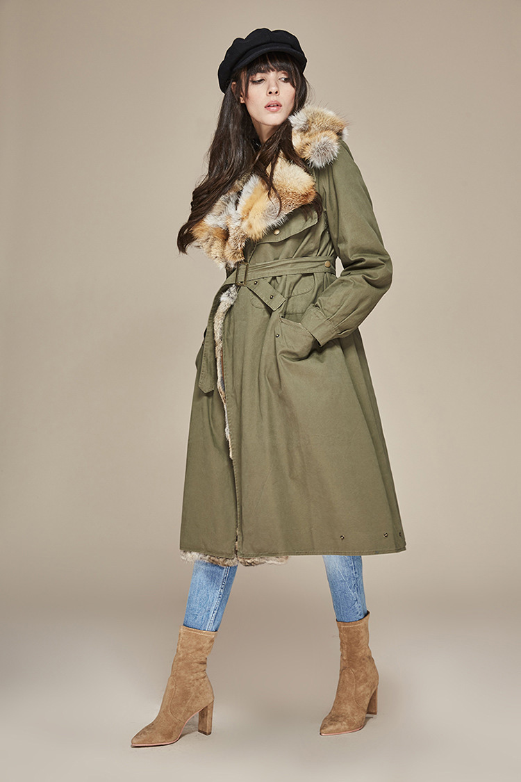 Fox Fur Collar Trench Coat with Rabbit Fur Trim 120 Details 6