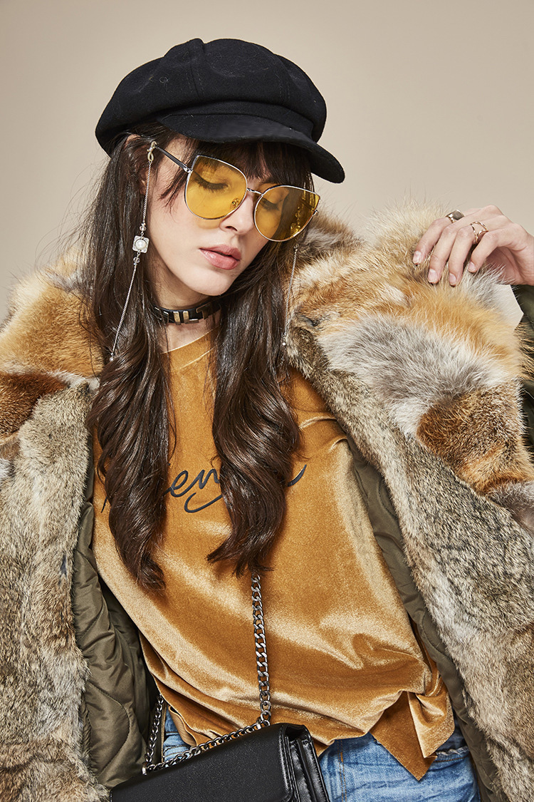 Fox Fur Collar Trench Coat with Rabbit Fur Trim 120 Details 7