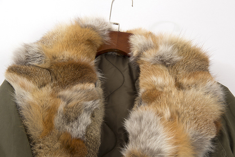 Fox Fur Collar Trench Coat with Rabbit Fur Trim 120 Details 8