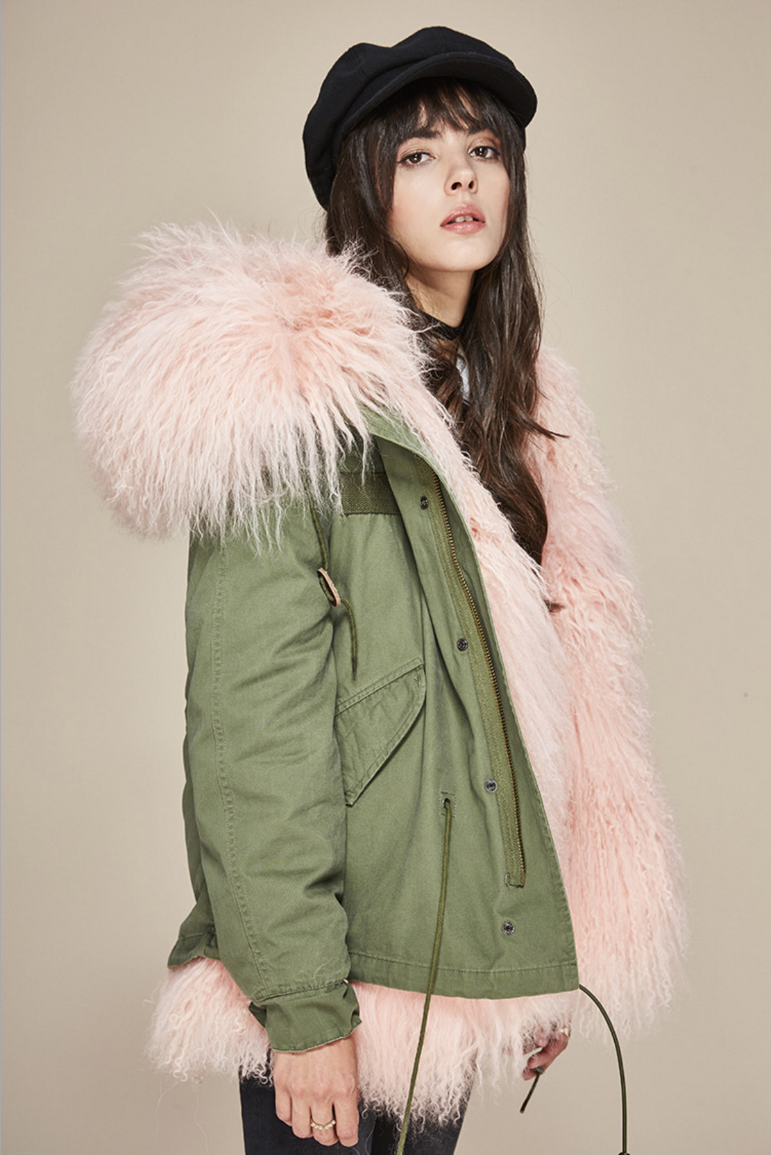 Tibet Sheep Fur Hooded Mini Parka 121 Details 1