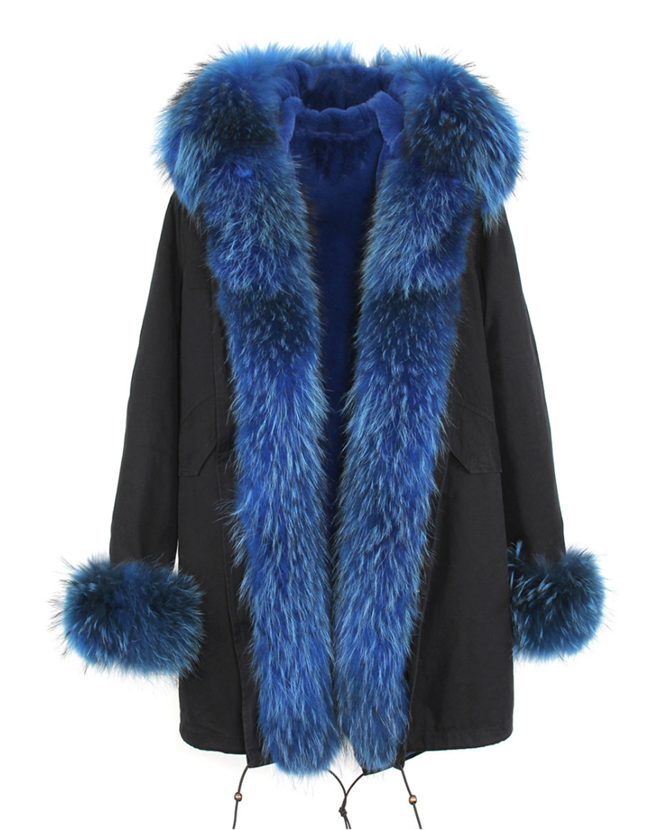 Raccoon Fur Trimmed Hooded Parka with Detachable Rabbit Fur Liner 122 Details 10