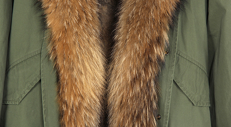 Raccoon Fur Trimmed Hooded Parka with Detachable Rabbit Fur Liner 122 Details 14
