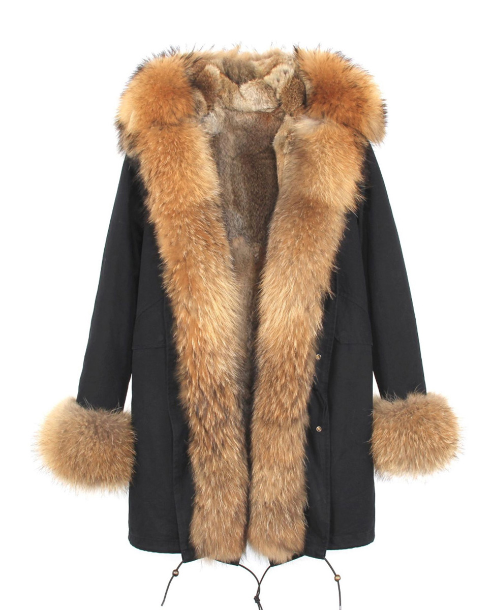 Raccoon Fur Trimmed Hooded Parka with Detachable Rabbit Fur Liner 122 Details 2