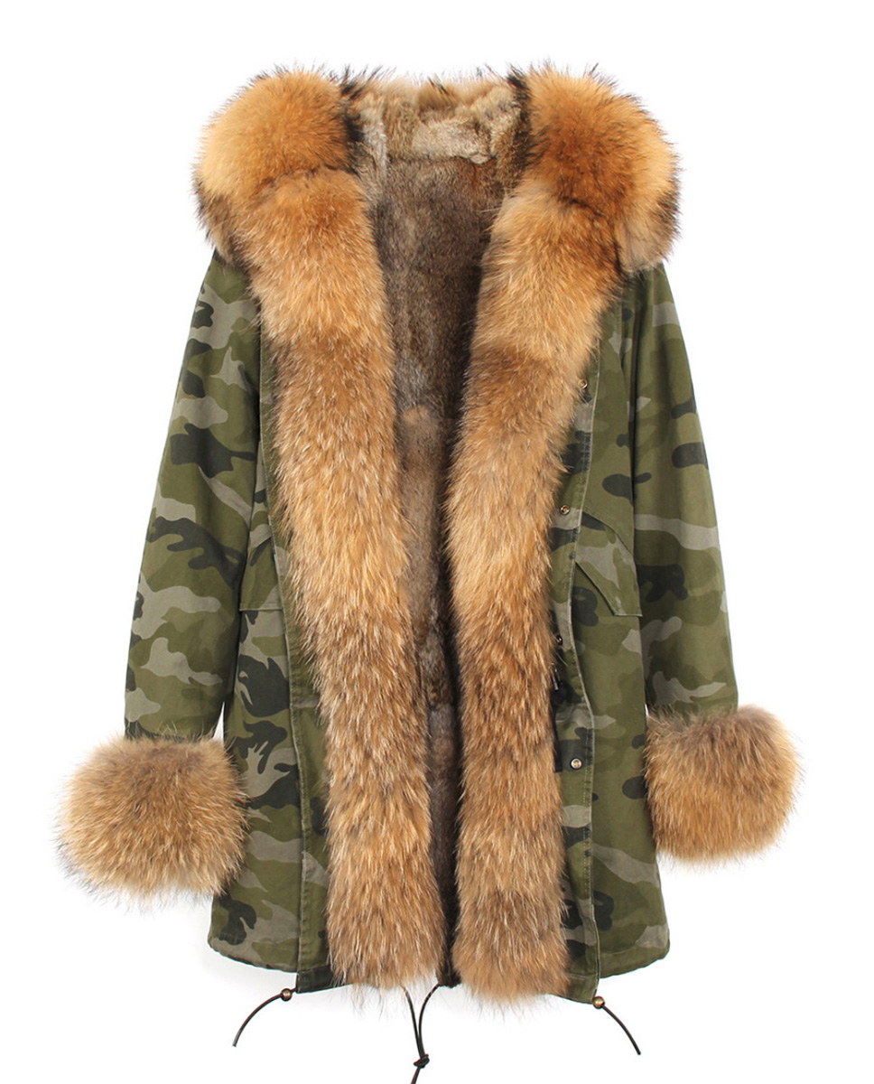 Raccoon Fur Trimmed Hooded Parka with Detachable Rabbit Fur Liner 122 Details 4