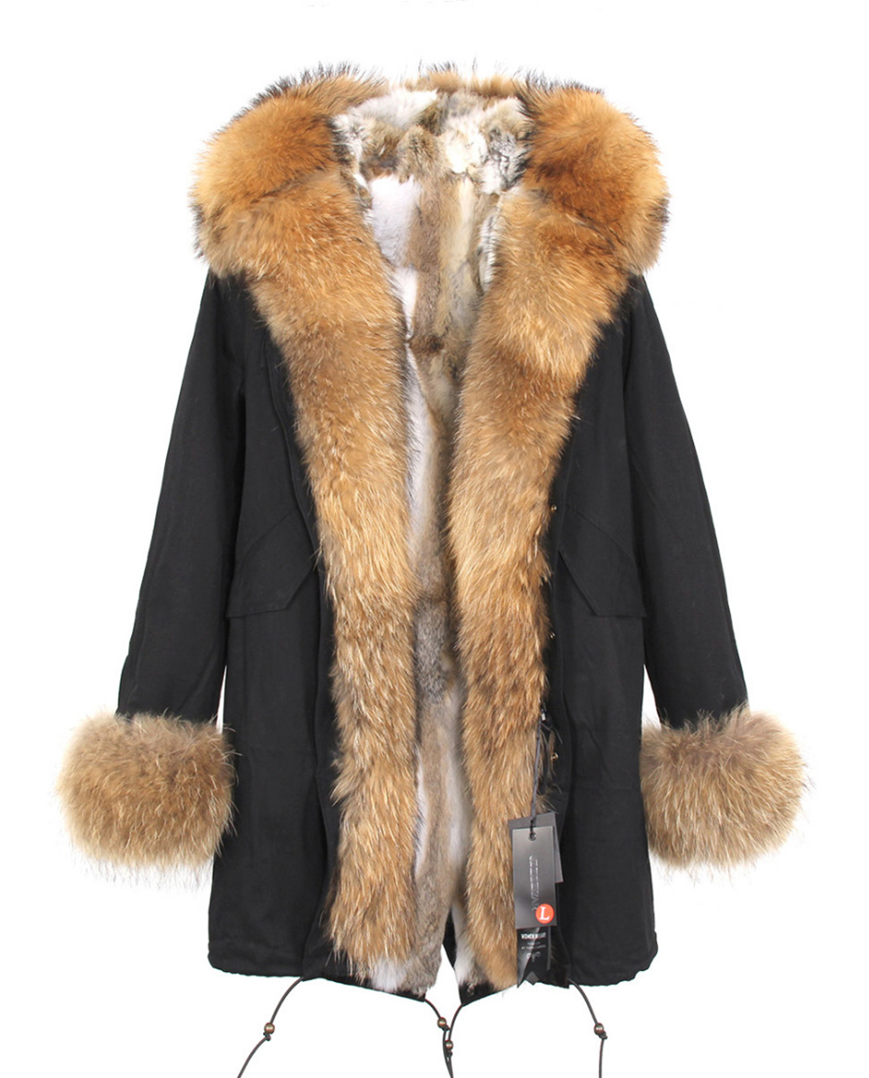 Raccoon Fur Trimmed Hooded Parka with Detachable Rabbit Fur Liner 122 Details 6