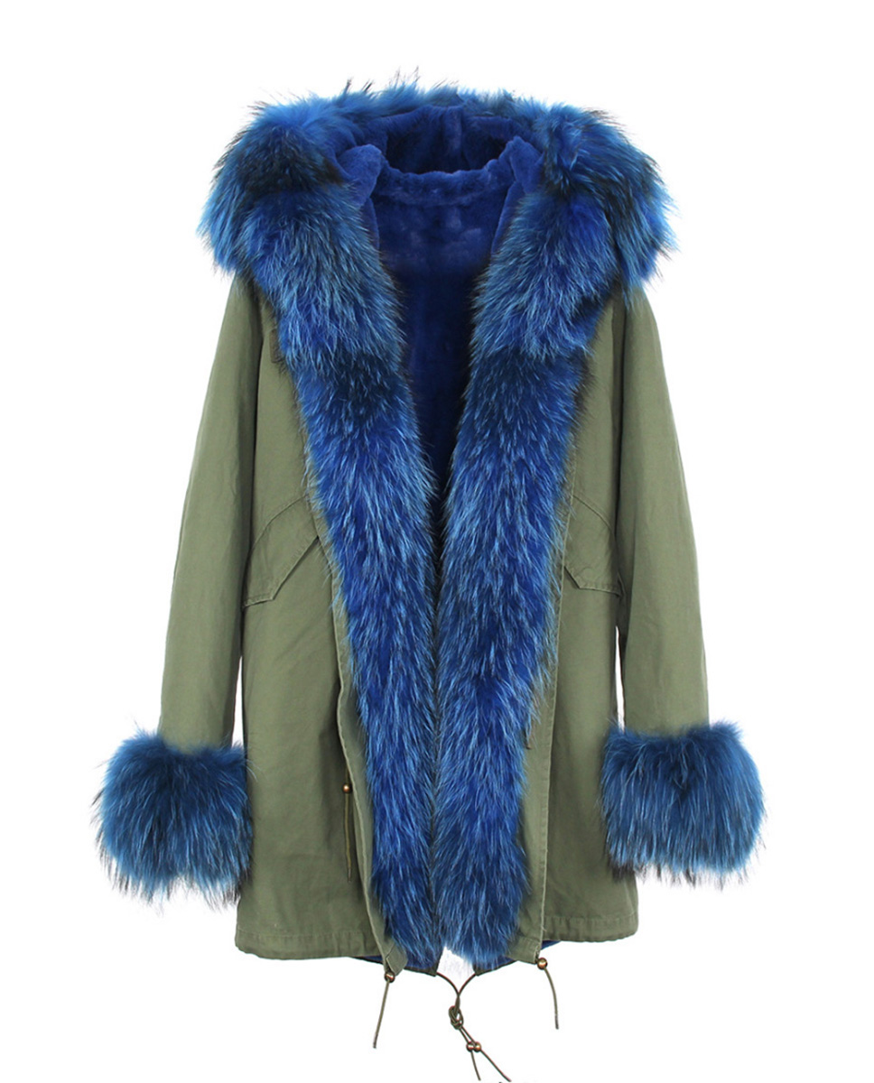 Raccoon Fur Trimmed Hooded Parka with Detachable Rabbit Fur Liner 122 Details 8