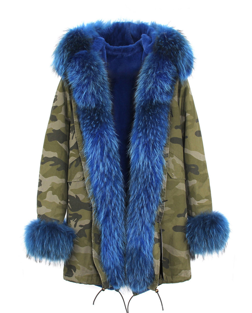 Raccoon Fur Trimmed Hooded Parka with Detachable Rabbit Fur Liner 122 Details 9