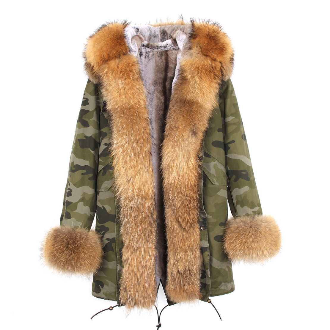 Raccoon Fur Trimmed Hooded Parka with Detachable Faux Rex Rabbit Fur Liner 122b-10